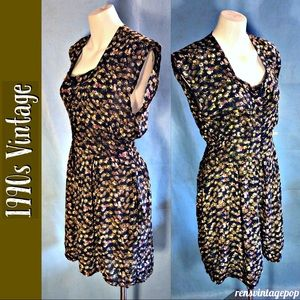Vntg Beaded 90s Floral Romper with POCKETS !